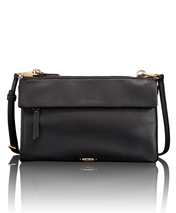 Tristen Leather Crossbody in Black