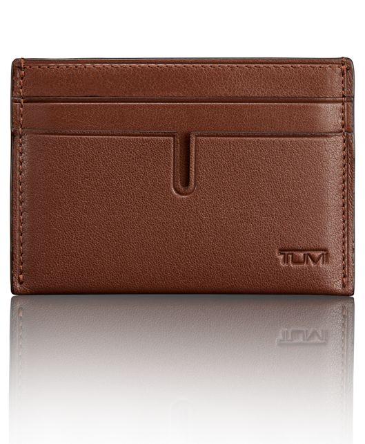 TUMI ID Lock™ Money Clip Card Case in Brown Textured