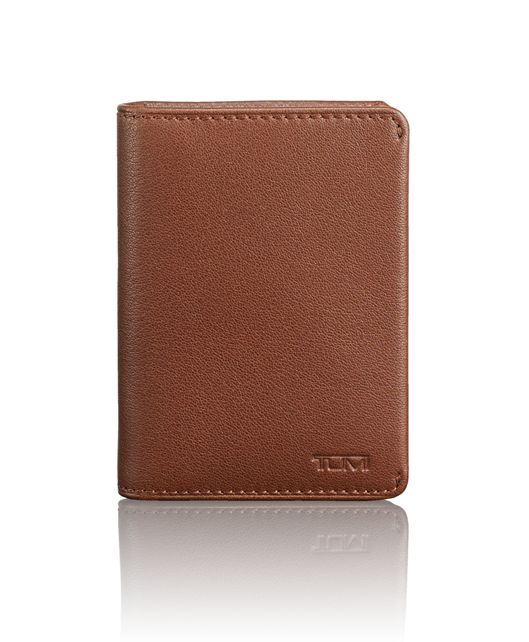 TUMI ID Lock™ Gusseted Card Case in Brown Textured