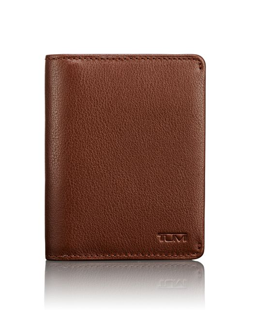 TUMI ID Lock™ Folding Card Case in Brown Textured