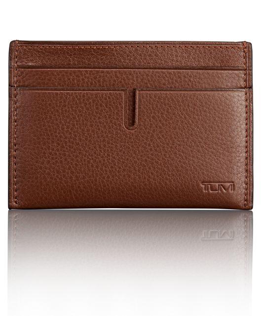 TUMI ID Lock™ Slim Card Case in Brown Textured