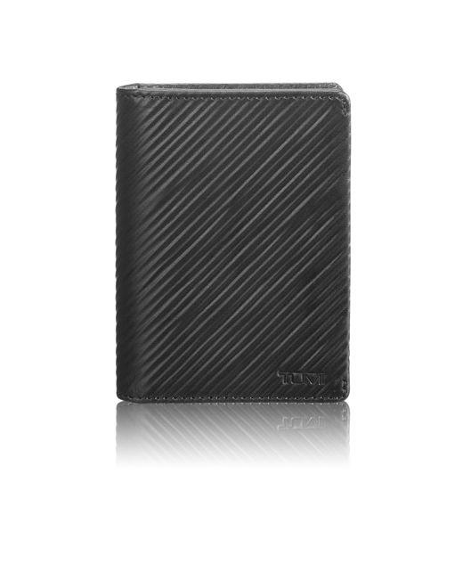 Gusseted Card Case in Black Embossed