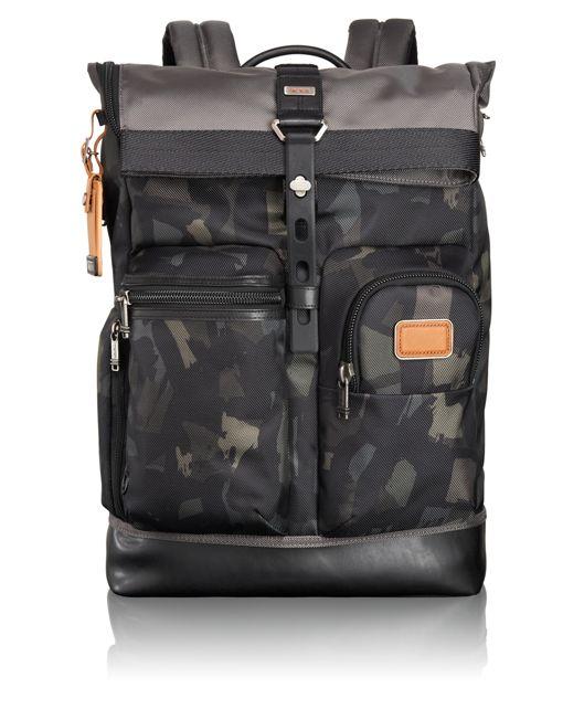 Luke Roll Top Backpack in Grey/Camo