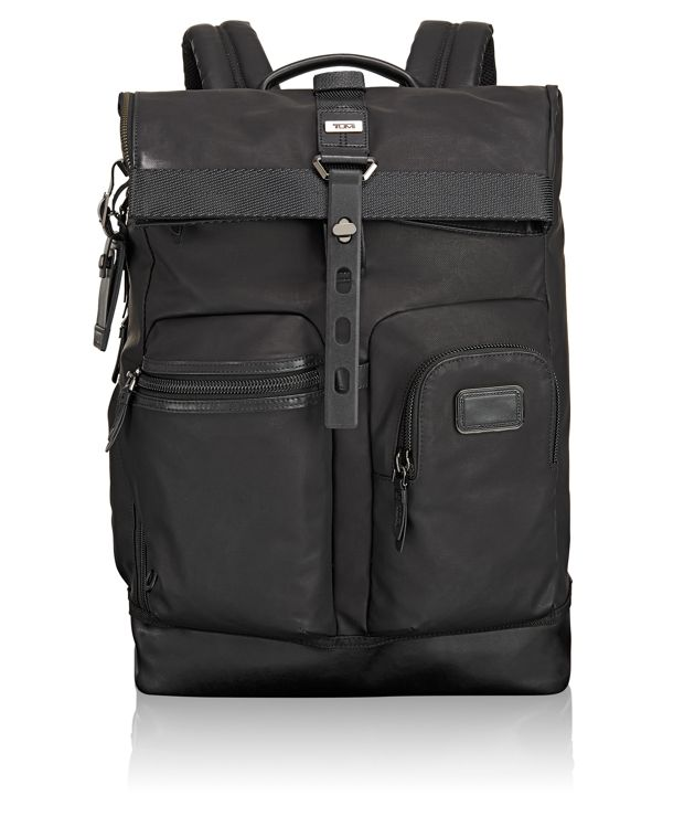 Luke Roll Top Backpack in Black