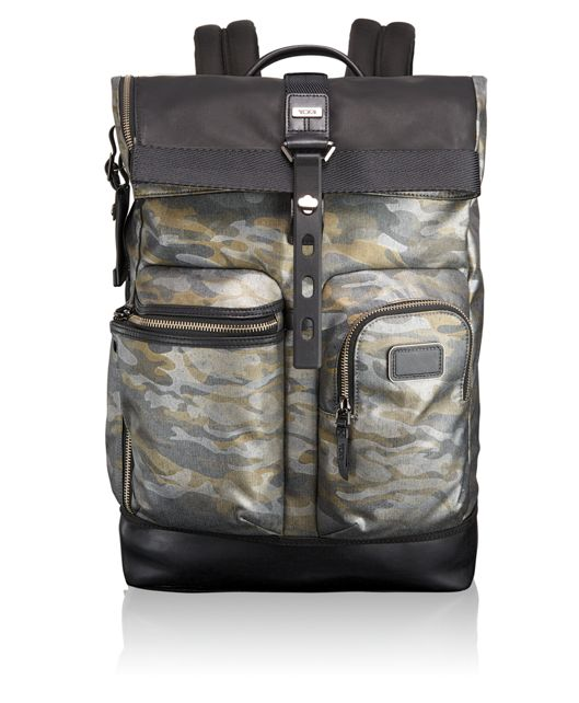 Luke Roll Top Backpack in Metallic Camo