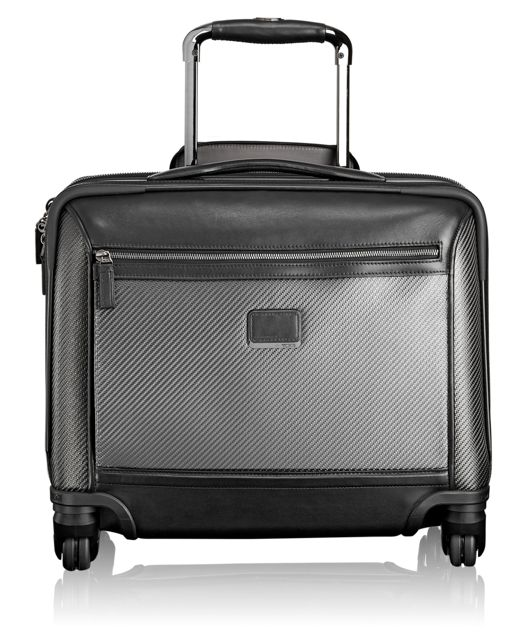Carbon Fiber Valencia Compact Carry-On 4 Wheeled Briefcase in Carbon
