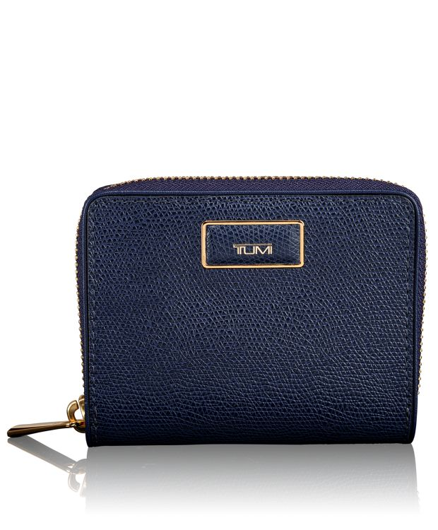 Zip-Around Small Wallet in Moroccan Blue