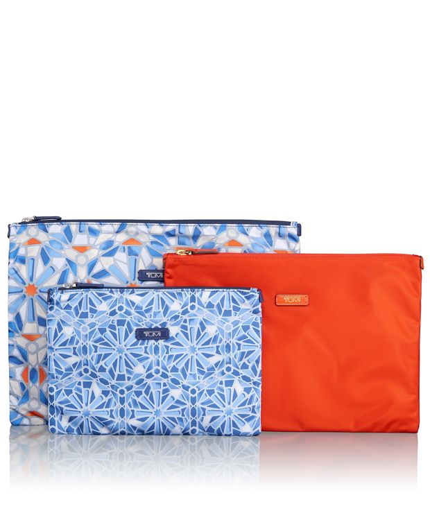 3 Pouch Set in Tile Print Multi