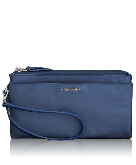 Double-Zip Wristlet in Cadet