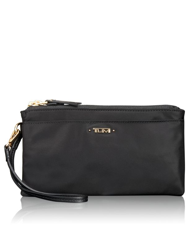 Double-Zip Wristlet in Black