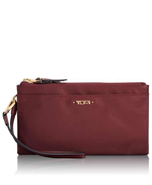 Double-Zip Wristlet in Merlot