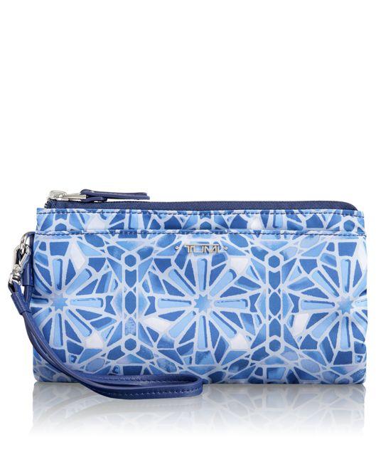 Double-Zip Wristlet in Moroccan Blue Tile P