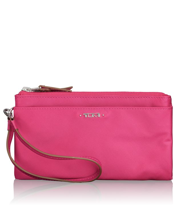 Double-Zip Wristlet in Pink