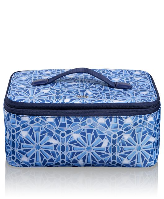 Travel Cosmetic Case in Moroccan Blue Tile P
