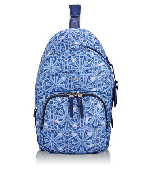 Brive Sling Backpack in Moroccan Blue Tile P