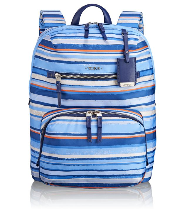 Halle Backpack in Moroccan Blue Stripe