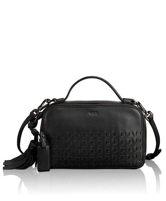 Angie Small Crossbody in Black Woven