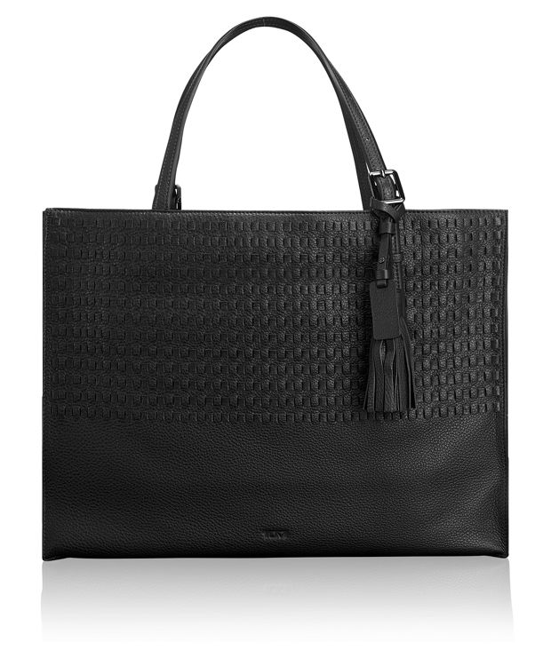 Emily Tote in Black Woven