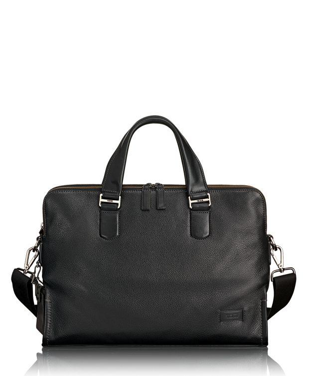 Seneca Slim Brief Leather in Black Pebbled