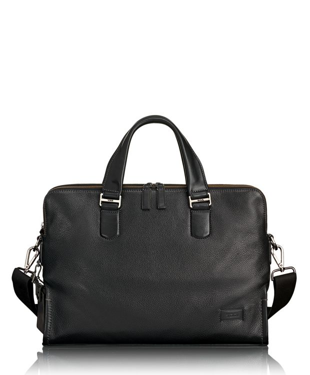 Seneca Slim Brief Leather in Black Pebbled