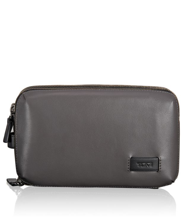 Adams Triple Zip Clutch in Grey