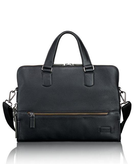 Taylor Portfolio Brief Leather in Black Pebbled
