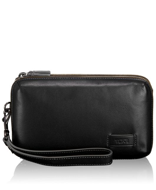 Halstead Triple Zip Clutch in Black
