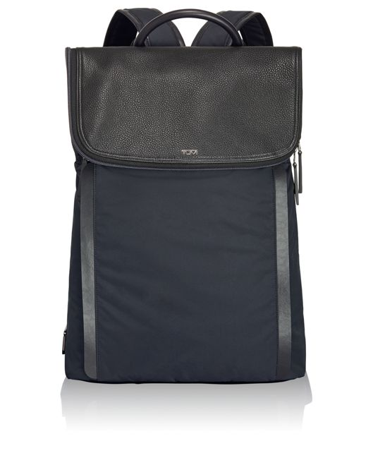 Evans Flap Backpack in Navy