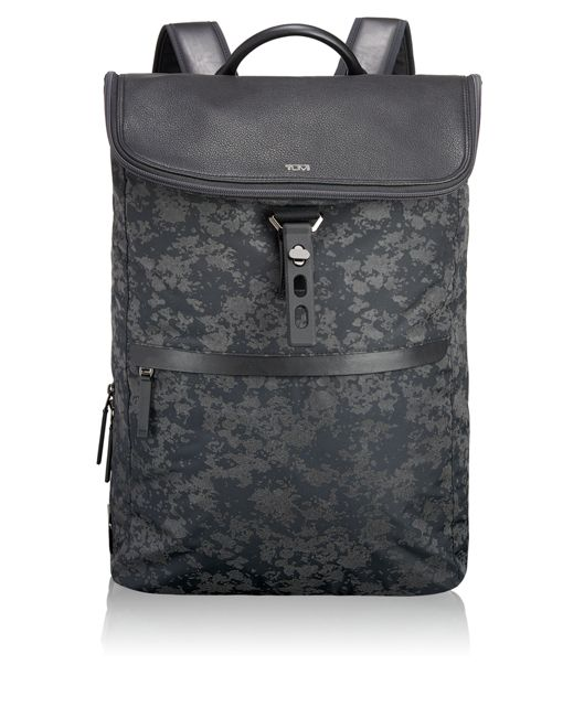 Elias Flap Backpack in Gunmetal Drip Print