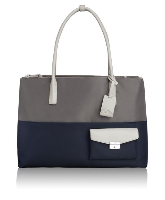 Hayes Triple Compartment Tote in Grey/Blue Spectator