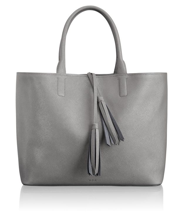Niki Leather Tote in Gull Grey