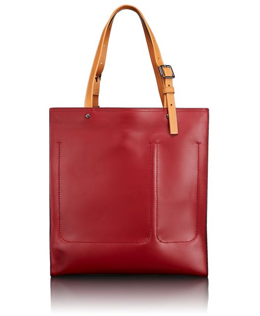 Meagan North/South Tote in Red/Tan