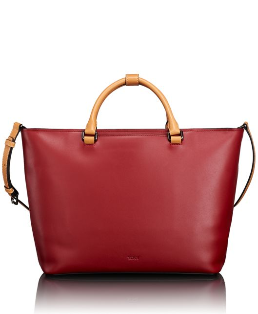 Hannah East/West Tote in Red/Tan