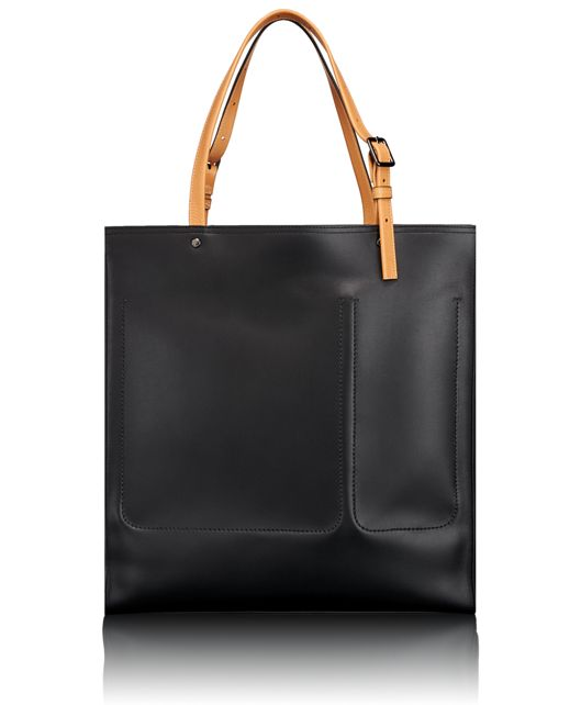 Meagan Large North/South Tote in Black/Tan