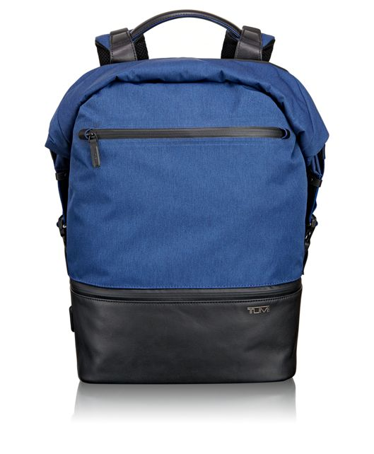Barton Roll Top Backpack in Blue