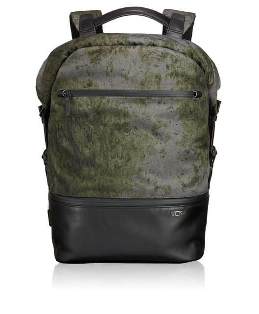 Barton Roll Top Backpack in FOREST PRINT