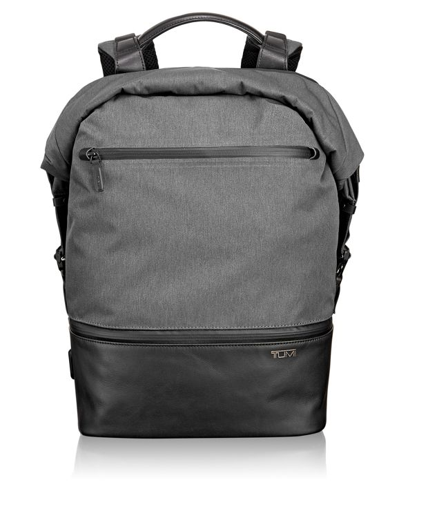 Barton Roll Top Backpack in Grey