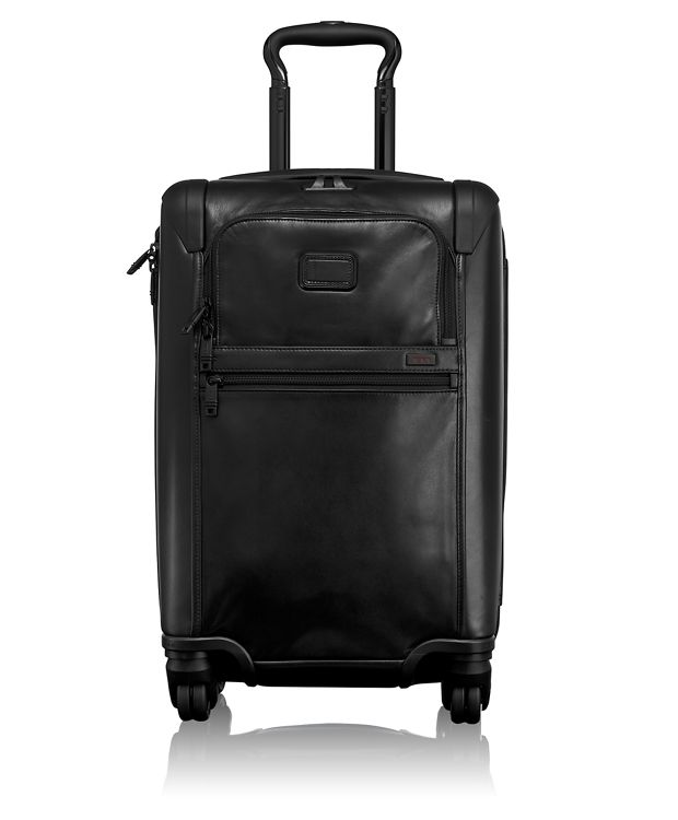 International Expandable 4 Wheeled Leather Carry-On in Black