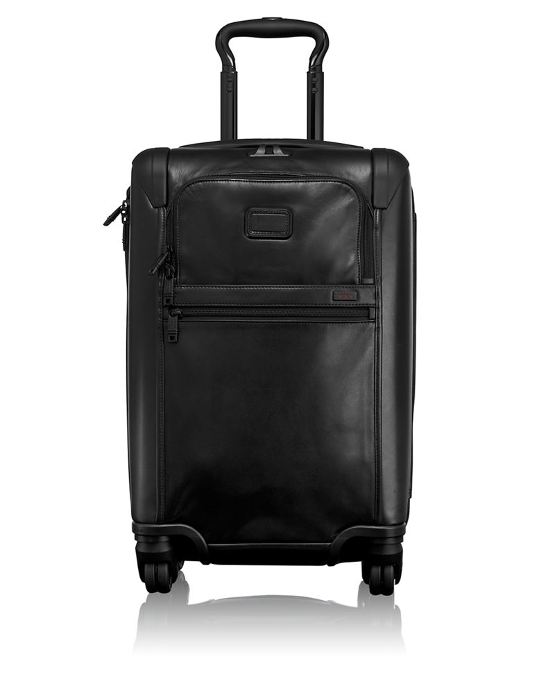 International Expandable 4 Wheeled Leather Carry-On