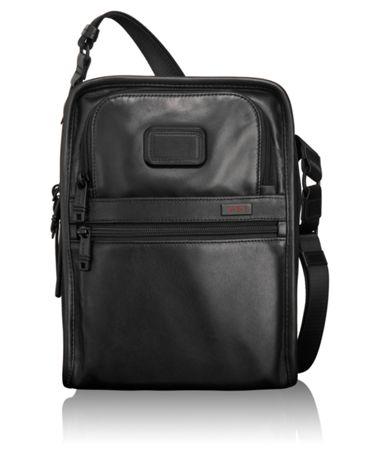 Organizer Travel Leather Tote in Black