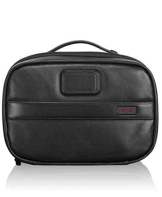 Split Leather Travel Kit in Black