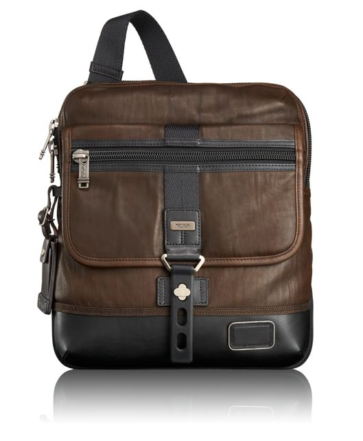 Annapolis Zip Leather Flap in Dark Brown