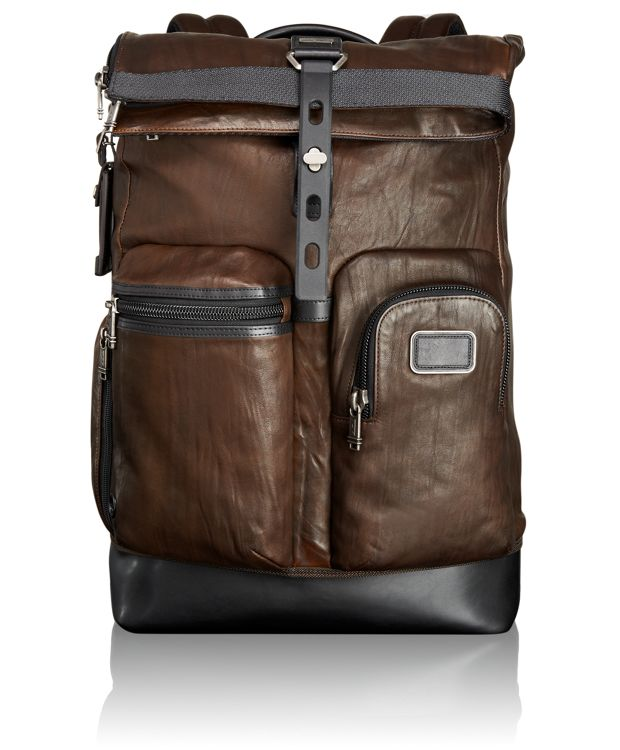 Luke Roll Top Leather Backpack in Dark Brown
