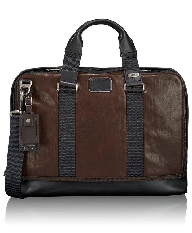 Andrews Slim Leather Brief in Dark Brown