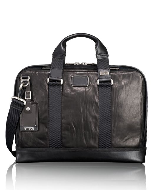 Andrews Slim Leather Brief in Black