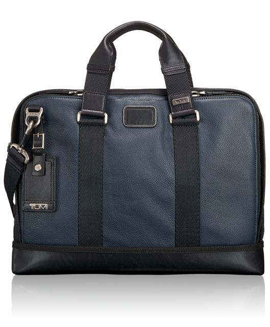 Andrews Slim Leather Brief in Dusk Blue