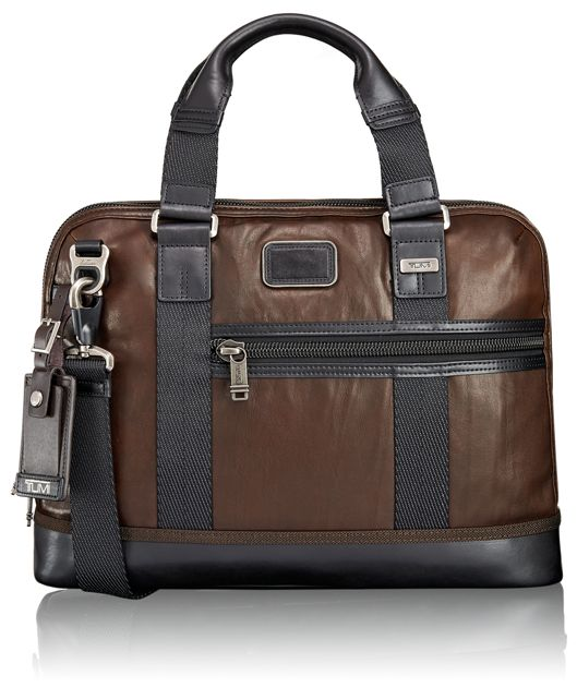 Earle Compact Leather Brief in Dark Brown
