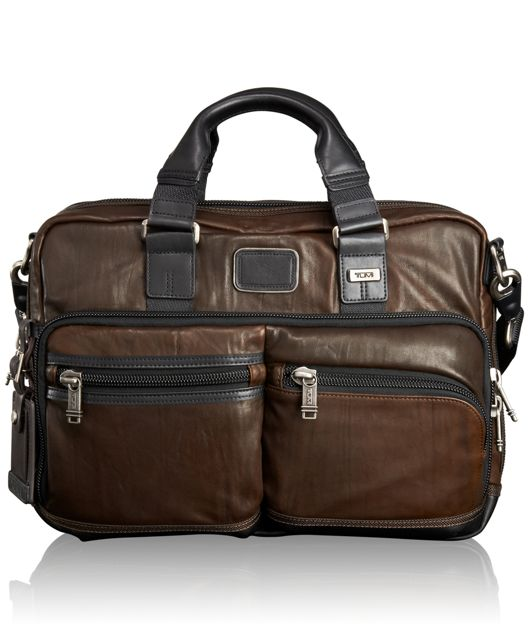 Andersen Slim Commuter Leather Brief in Dark Brown
