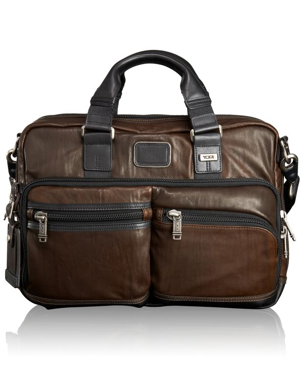 Andersen Slim Commuter Leather Brief in Dark Brown