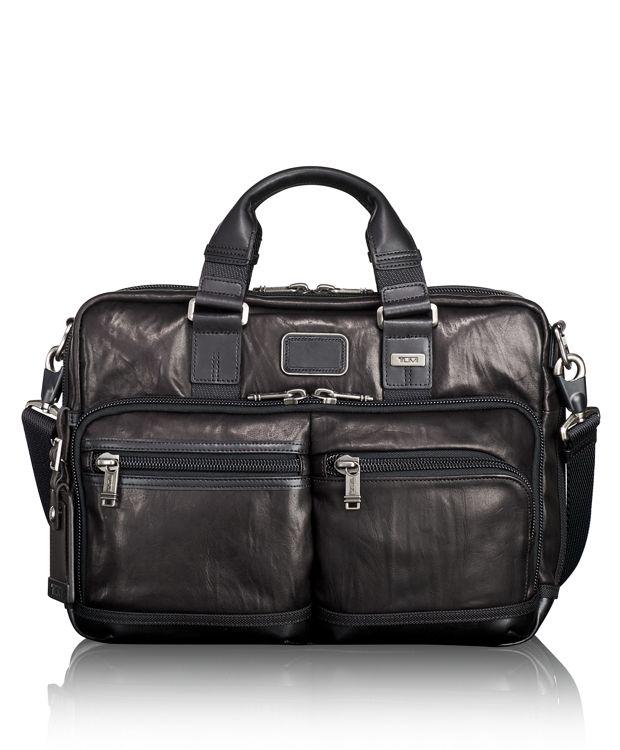Andersen Slim Commuter Leather Brief in Black